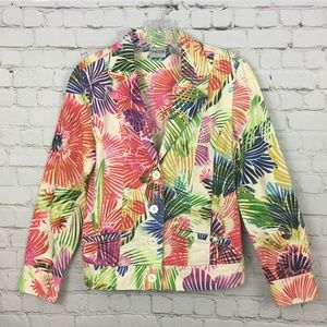 Chicos Jacket Pockets Bright Neon Button Front